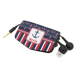 Nautical Anchors & Stripes Genuine Leather Cord Wrap (Personalized)