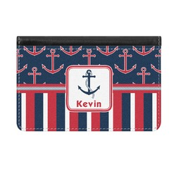 Nautical Anchors & Stripes Genuine Leather ID & Card Wallet - Slim Style (Personalized)