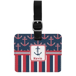 Nautical Anchors & Stripes Genuine Leather Rectangular  Luggage Tag (Personalized)
