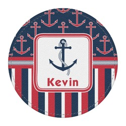 Nautical Anchors & Stripes Round Desk Weight - Genuine Leather  (Personalized)