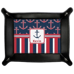 Nautical Anchors & Stripes Genuine Leather Valet Tray (Personalized)