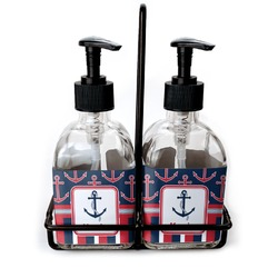 Nautical Anchors & Stripes Soap/Lotion Dispensers (Glass) (Personalized)
