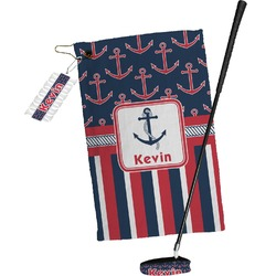 Nautical Anchors & Stripes Golf Towel Gift Set (Personalized)