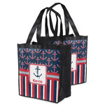 Nautical Anchors & Stripes Grocery Bag (Personalized)