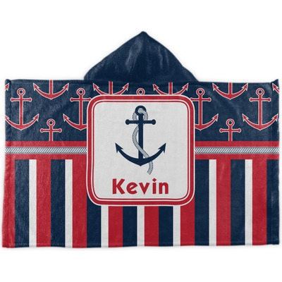 Nautical Anchors & Stripes Kids Hooded Towel (Personalized)