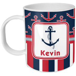 Nautical Anchors & Stripes Plastic Kids Mug (Personalized)