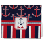 Nautical Anchors & Stripes Kitchen Towel - Full Print (Personalized)