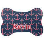 Nautical Anchors & Stripes Bone Shaped Dog Food Mat (Personalized)
