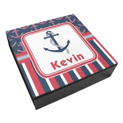 Nautical Anchors & Stripes Leatherette Keepsake Box - 8x8 (Personalized)