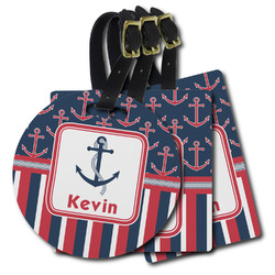 Nautical Anchors & Stripes Plastic Luggage Tags (Personalized)