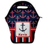 Nautical Anchors & Stripes Lunch Bag w/ Name or Text