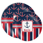 Nautical Anchors & Stripes Melamine Plate (Personalized)