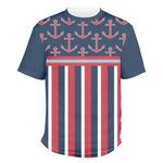 Nautical Anchors & Stripes Men's Crew T-Shirt (Personalized)