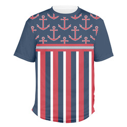 Nautical Anchors & Stripes Men's Crew T-Shirt (Personalized)