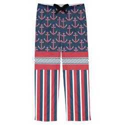 Nautical Anchors & Stripes Mens Pajama Pants (Personalized)