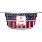 Nautical Anchors & Stripes Stainless Steel Dog Bowl (Personalized)