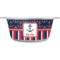 Nautical Anchors & Stripes Stainless Steel Pet Bowl (Personalized)