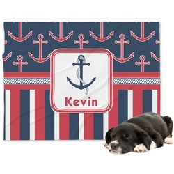 Nautical Anchors & Stripes Minky Dog Blanket (Personalized)