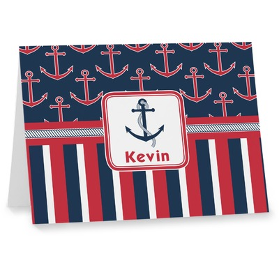 Nautical Anchors & Stripes Note cards (Personalized)