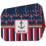 Nautical Anchors & Stripes Dining Table Mat - Octagon w/ Name or Text