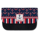 Nautical Anchors & Stripes Canvas Pencil Case w/ Name or Text