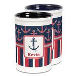 Nautical Anchors & Stripes Ceramic Pencil Holder - Large
