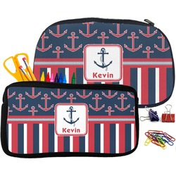 Nautical Anchors & Stripes Pencil / School Supplies Bag (Personalized)
