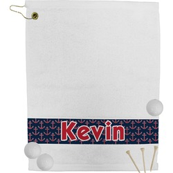 Nautical Anchors & Stripes Golf Towel (Personalized)