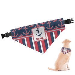 Nautical Anchors & Stripes Dog Bandana - Large (Personalized)