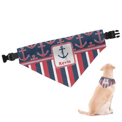 Nautical Anchors & Stripes Dog Bandana (Personalized)