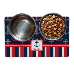Nautical Anchors & Stripes Dog Food Mat (Personalized)