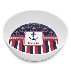 Nautical Anchors & Stripes Melamine Bowl 8oz (Personalized)