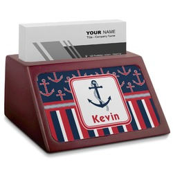 Nautical Anchors & Stripes Red Mahogany Business Card Holder (Personalized)