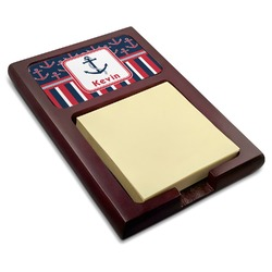 Nautical Anchors & Stripes Red Mahogany Sticky Note Holder (Personalized)