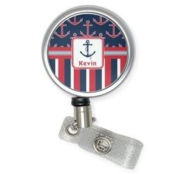 Nautical Anchors & Stripes Retractable Badge Reel (Personalized)