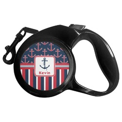Nautical Anchors & Stripes Retractable Dog Leash (Personalized)