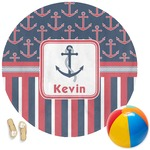 Nautical Anchors & Stripes Round Beach Towel (Personalized)