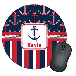 Nautical Anchors & Stripes Round Mouse Pad (Personalized)