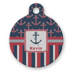 Nautical Anchors & Stripes Round Pet ID Tag (Personalized)