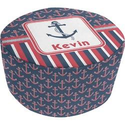 Nautical Anchors & Stripes Round Pouf Ottoman (Personalized)