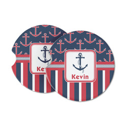 Nautical Anchors & Stripes Sandstone Car Coasters (Personalized)