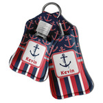Nautical Anchors & Stripes Hand Sanitizer & Keychain Holder (Personalized)