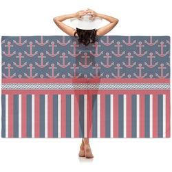 Nautical Anchors & Stripes Sheer Sarong (Personalized)