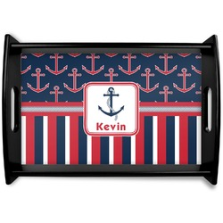 Nautical Anchors & Stripes Wooden Trays (Personalized)