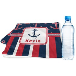 Nautical Anchors & Stripes Sports Towel (Personalized)