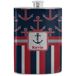 Nautical Anchors & Stripes Stainless Steel Flask (Personalized)