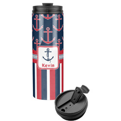 Nautical Anchors & Stripes Stainless Steel Travel Tumbler (Personalized)