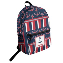 Nautical Anchors & Stripes Student Backpack (Personalized)
