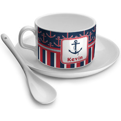 Nautical Anchors & Stripes Tea Cups (Personalized)