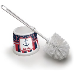 Nautical Anchors & Stripes Toilet Brush (Personalized)